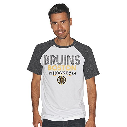 G-III Sports NHL Boston Bruins Men's Heritage Color Block Short Sleeve Tri Blend Top, XX-Large, White/Charcoal