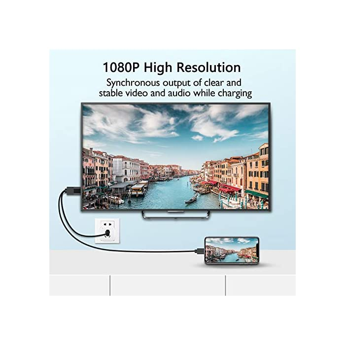 """51gRTlSrjML Haz clic aquí para comprobar si este producto es compatible con tu modelo 【Facilidad de uso】 Es fácil conectar este cable HDMI a su teléfono. Espere 3 segundos y luego haga clic en el botón """"Confiar"""" en la pantalla del teléfono. Se conectará automáticamente a su HDTV, monitor o proyector con entrada HDMI. No se requieren más aplicaciones, WIFI o Bluetooth. 【Display Pantalla 1080P】 Este adaptador HDMI admite video con una resolución de hasta 1920 x 1080P. Transmite señales de audio y video sincronizadas. Extienda o refleje sus dispositivos en un televisor con HDMI o en una pantalla de cine en casa."""