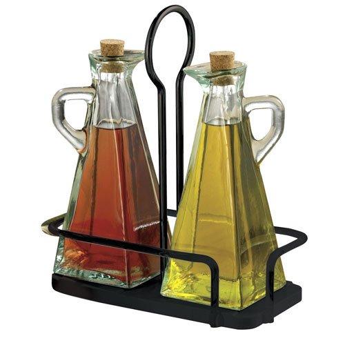 Tablecraft (617NBK) 3-Piece Marbella Oil & Vinegar Set
