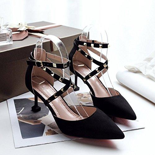 Primavera De Remache Zapatos De Mujer Negro Tacón Zapatos Única Sandalias Alto Con Zapatos GAOLIM Sugerencia Lady vdq7BFwqx