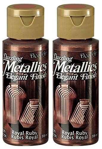 2-Pack - DecoArt Dazzling Metallics Acrylic Colors - Royal Ruby, 2-Ounces Each (Ruby Royal)