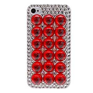 Special Design Beads and Diamond Covered Hard Case for iPhone 4/4S (Assorted Colors) --- COLOR:Red