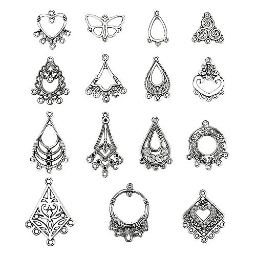 LolliBeads (TM) Antiqued Tibetan Silver Earring Chandelier Earring Jewelry Making Kit for Earring Drop and Charm Pendant Assorted Pack (60 ()