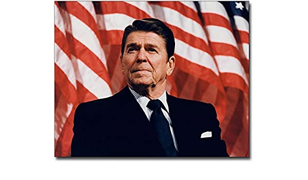 PRESIDENT RONALD REAGAN PATRIOTIC PORTRAIT 8x10 SILVER HALIDE PHOTO PRINT