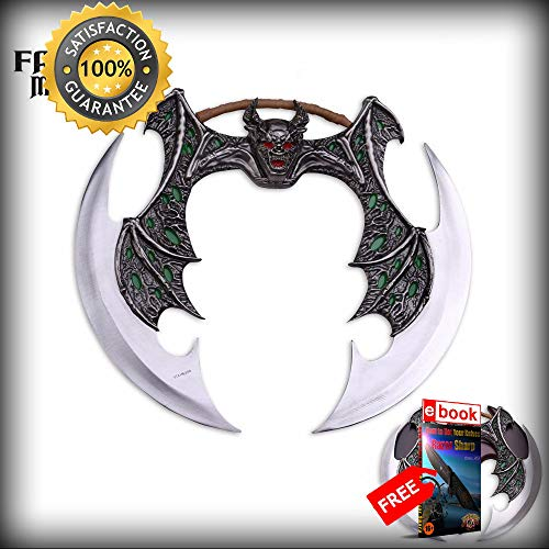 Green Demon Wing Dual Blade Fantasy SHARP KNIFE Weapon with Wooden Display Plaque Combat Tactical Knife + eBOOK by Moon Knives