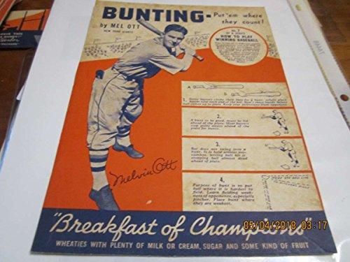 1936 Wheaties Mel Ott #7 New York Giants ex complete card