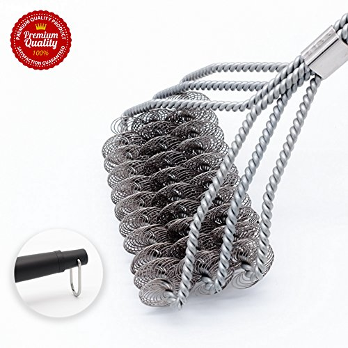 Hoimpro Grill Brush, Rust Resistant BBQ Grill Cleaner, Bristle Free Barbecue Cleaning Scraper, 18 inch Safe Grill Cleaner for Porcelain, Propane, Stainless Steel, Gas, Iron and Weber Grill Grates