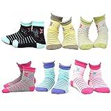 TeeHee Kids Girls Cotton Fashion Crew Socks 6 Pair Pack (6-8Y, Butterfly)
