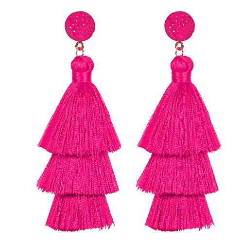 Tassel Earrings for Womens Girls Fashion Colorful Layered Bohemian Dangle Drop Tiered Tassel Druzy Stud Earrings Holiday Gifts