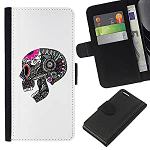 ZCell / Apple Iphone 5C / Skull Death Grey Pink White Pattern / Caso Shell Armor Funda Case Cover Wallet / Cráneo muerte Gris Rosa Blanco