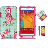 Note 3 Case, Galaxy Note 3 Case, MISTOT(TM)Fashion Hot Sale Elegant Orchid Pattern Hybrid Three Layers Combo Hard Soft High Impact Hard Back Case Protective Cover Fit For Samsung Galaxy Note 3