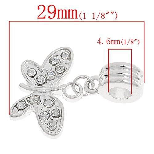 HOUSWEETY 5 Pendentifs Dangle Europeen Charm Papillon Strass Cristal Pour Bracelet Charm 29x21mm