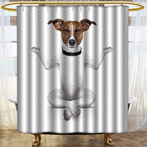 Mildew Resistant Fabric Shower Curtain yoga dog sitting relaxed with closed eyes Water-Repellent Antibacterial/W36