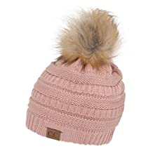 Gravity Threads CC Cable Knit Faux Fur Pom Pom Beanie Hat, India Pink