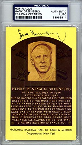 Hank Greenberg Autographed Signed HOF Plaque Postcard Tigers #83963814 PSA/DNA Certified MLB Cut Signatures