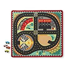 Melissa & Doug Round the Speedway Race Track Rug With 4 Race Cars (39 x 36 inches)