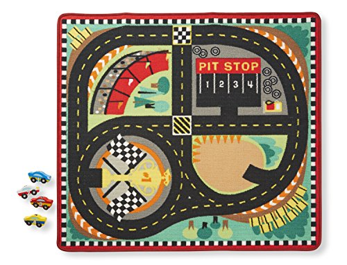 (Melissa & Doug Round the Speedway Race Track Rug With 4 Race Cars (39 x 36 inches))