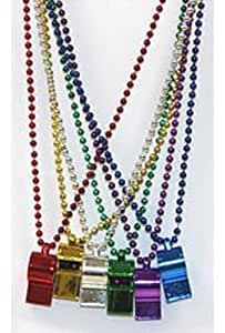 "Mardi Gras, Assorted Colors Whistle Beads, Necklace, 40"", 1 Dozen (12pcs)."