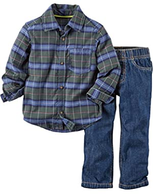 Carters Baby Boys 2-pc Plaid Pant Set 9 Month Green/multi