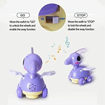Pterosaur Woby Musical Dinosaur Car Action Educational Learning and Walking Toy for 1 Year Old Baby Toddler Girl Boy