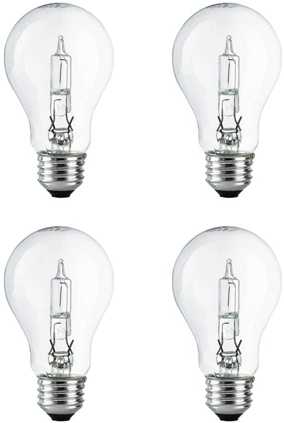 A19 Clear Halogen Light Bulb, 72 Watt, (100W Equivalent), 2700K Soft White, E26 Medium Base, 750 Lumens, 120V (4 Pack)