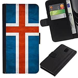 LASTONE PHONE CASE / Lujo Billetera de Cuero Caso del tirón Titular de la tarjeta Flip Carcasa Funda para Samsung Galaxy Note 3 III N9000 N9002 N9005 / National Flag Nation Country Iceland