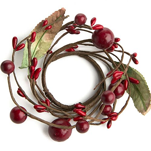 Berry Leaf Candle Ring (Factory Direct Craft Package of 6 Hand Wrapped Artificial Mixed Red Berry and Leaf Candle Rings for Holiday Decor and Embellishing)