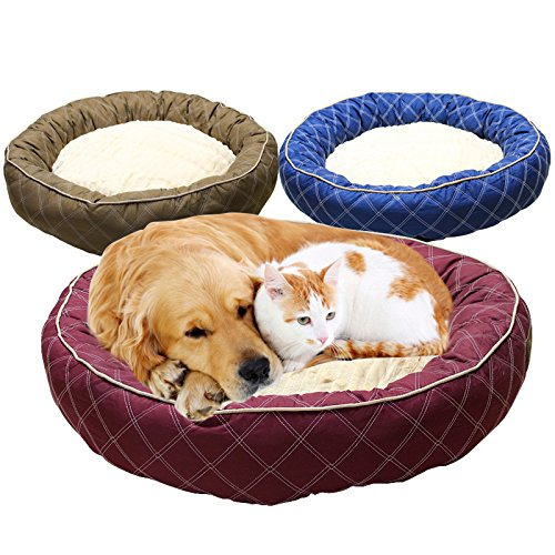 Brown Pet Online Large dog kennel autumn warm thickened cotton breathable pet bed, 80  80  20CM, brown