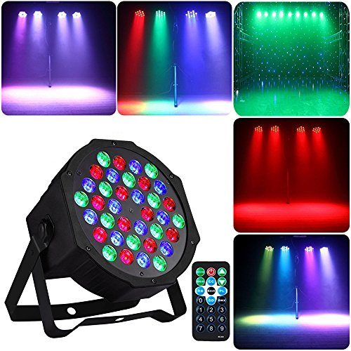Disco Party Lights 36 LED RGB Par Lights Sbolight Sound Activated DMX Controlled Dj Stage Lighting Projector With Remote Control for Birthday Party Wedding Bar Club KTV Home Halloween -