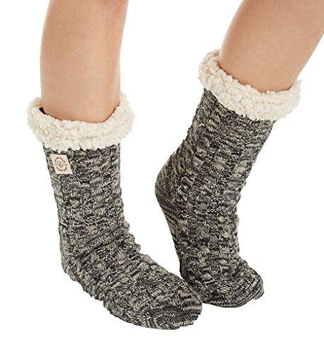Dearfoams Dames Tri-marled Kabel Blizzard Sok Slipper Zwart