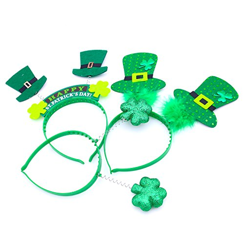 BmToy 3 Pcs St. Patrick's Day Feathered Glitter Top Hat Headband Costume Party Head Wear Accessory (Costume Ideas For Men With Beards)
