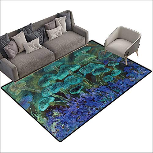 Floor Bath mat Psychedelic Unusual Speckled Fluorescent Mushroom Figures Dreamy Fantasy Graphic W70 xL82 Suitable for Bedroom, Living Room, Games Room, Foyer or Dining Room