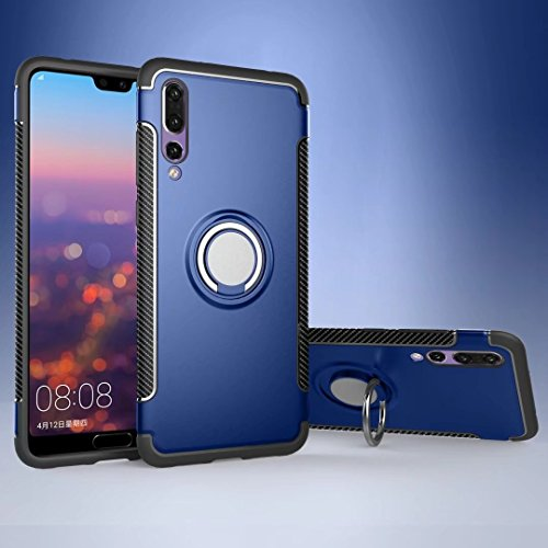 Price comparison product image MyCase For Huawei P20 Pro Armor Dual Layer 2 In 1 Protection Case With 360 Degree Rotating Finger Ring Holder And Magnet Car Holder Case (Color : Blue)