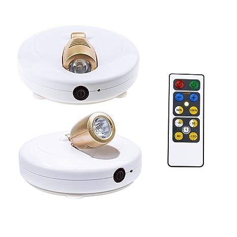 Foco led Lámpara de techo Disco Inalámbrico, HONWELL 2pcs luces led para armarios pilas dimmable