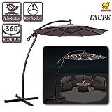 Strong Camel 9' Cantilever 40 Led Light Patio Umbrella Outdoor Garden Aluminium Market (Taupe)