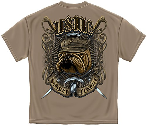 Usmc Bulldog Sweatshirt - Erazor Bits Marine Corps T Shirt USMC Bull Dog Crossed Swords American Flag Marine Corps US Army Air Force US Navy Patriotic 100% Cotton T Shirt Savana Brown ADD59-MM2268XL X-Large