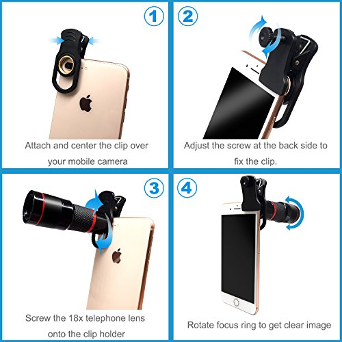 Cell Phone Telephoto Lens, Avanz 2018 Upgraded 18x Zoom Telephoto Lens with Mini Tripod & Universal Clip & Phone Holder, Zoom Lens for iPhone X/8/7/6S/SE, Samsung, iPad, Smartphones by Avanz (Image #3)