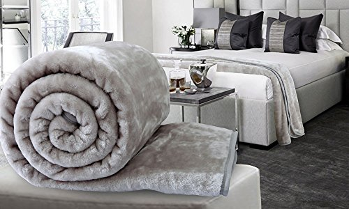 Global Home Super Soft New Blankets Double Bed Winter Soft Floral Embossed (Silver Color)