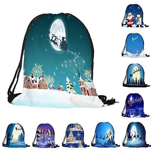 ✈ HYIRI Merry Christmas Candy Bag Satchel Bundle Pocket Drawstring Storage Bag