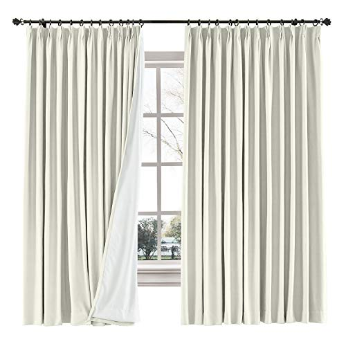 (ChadMade Linen Cotton Curtain Panel Pinch Pleated Blackout Curtain Bedroom Living Room Sliding Door Panel, 120