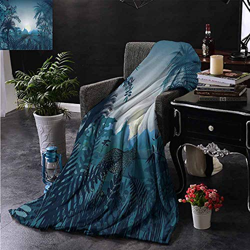 ZSUO Patterned Blanket Night in The Rainforest Jungle with Wild Tiger Animal Moonlight Palm Shrubs Hazy Gra Soft, Fuzzy, Cozy, Lightweight Blankets 60