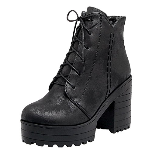 Agodor Women's Platform Lace up High Heels Ankle Boots With Block Heel Retro Shoes With 10cm Heel Black VG0oBzON