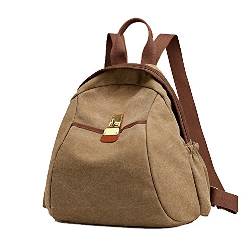 (XRX Women Backpack Sturdy Canvas Travel Bag Casual Outdoors Purse Girl's School Daypack,Brown)
