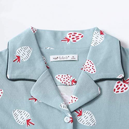 Cute Camisones Tops Casuales Pants Pijama Impresión 2 Pijamas Pedazos De Mujer Otoño Primavera Moda Blau Conjunto Fresas Algodon OtPRUnW