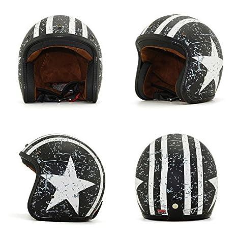 Helmet Motorrad-Helm Jet-Helm Scooter-Helm Vespa-Helm Halbhelme Motorrad Helm Flat mit Rebellen Star Graphic Schwarz Wei/ß Woljay 3//4 Offener Sturzhelm S