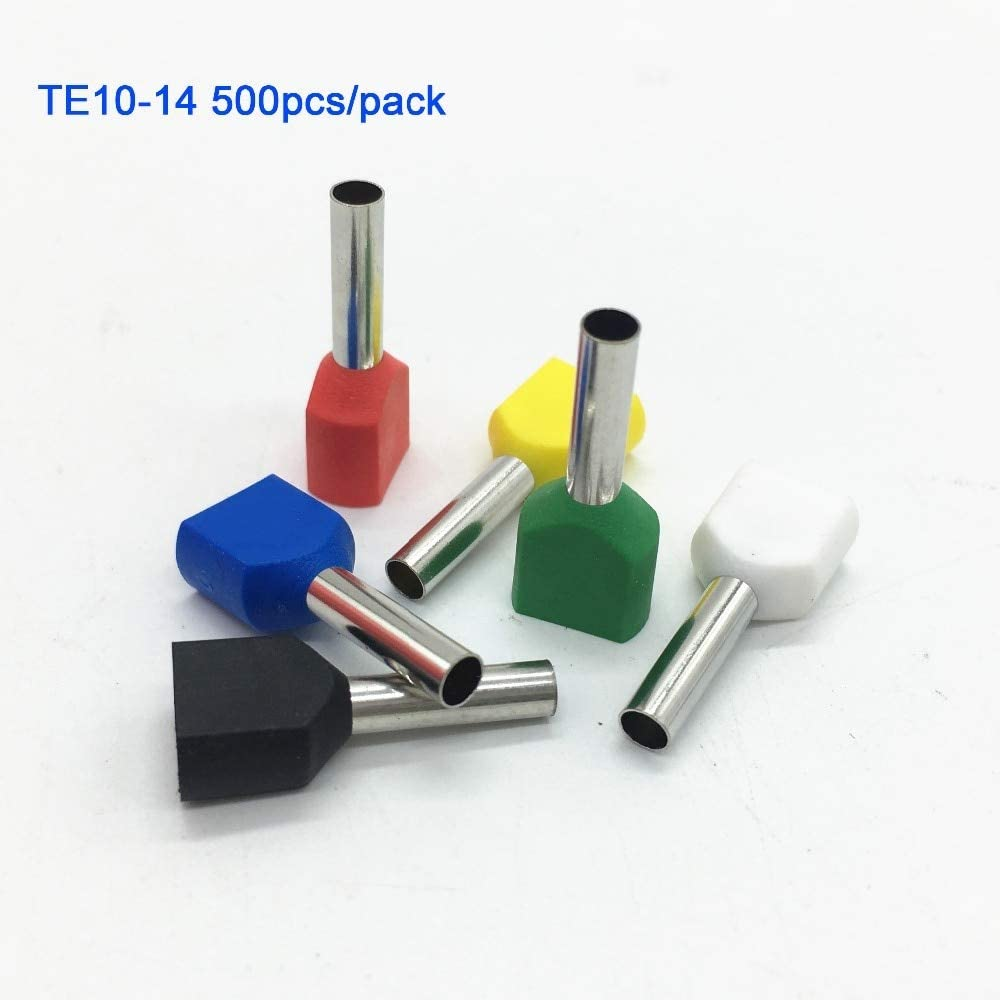 Onvas 500pcs//pack TE10-14 2 X 8 AWG Red PVC Insulated Twin Ferrules For 2 X 10.0mm2 Color: Yellow 14.0mm of copper length