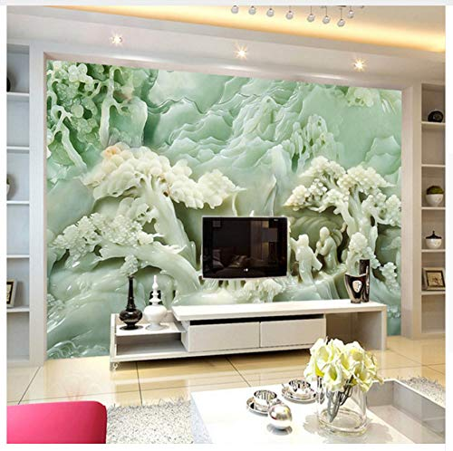 Custom 3D Home Decorating Wallpaper Chinese Style Simulation Character Tree Jade Sculpture Wall Mural Large Background Wallpaper 300X210cm,Ayzr