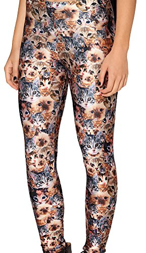 (Sister Amy Women's High Waist Pure Color Digital Printted Ankle Elastic Tights Legging Z-Cats )
