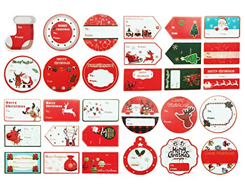 Christmas to from Sticker Santa Present Labels Peel & Stick Holiday Gift Tag Stickers Personalized Xmas Self-Adhesive Package Box Wrapping Decals Paper ()