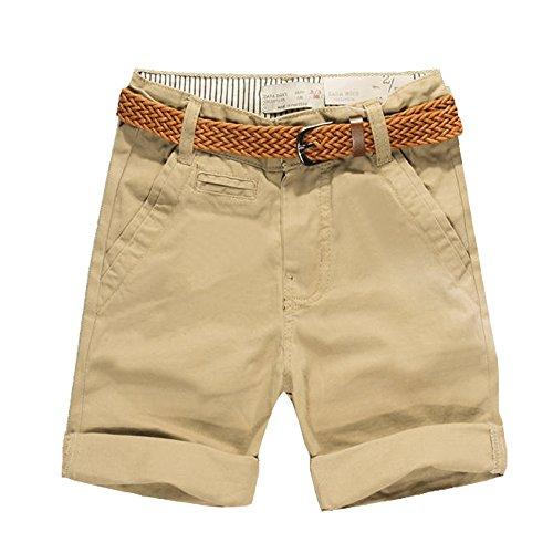 Budermmy Boys Cotton Short Solid Cargo Toddler Adjustable Waistband Shorts With Belt Khaki 2 Years (Shorts Boys Toddler Cargo Khaki)